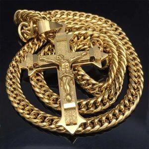 Men's gold crucifix cross necklace